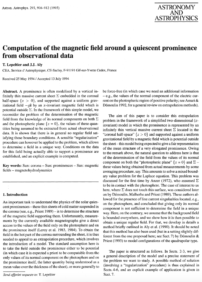 Computation of the magnetic field around a quiescent prominence from...